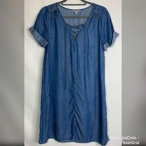 LUCKY BRAND Chambray Lace Up Shirt Dress